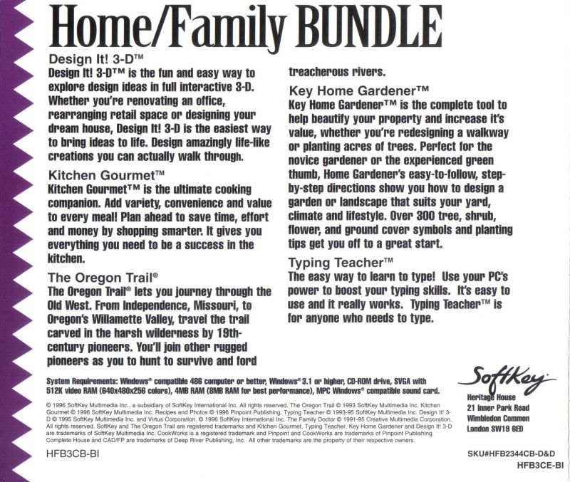 Home/Family Bundle Windows Back Cover