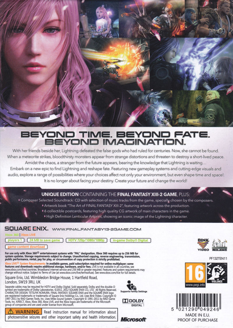 Final Fantasy XIII-2 (Limited Collector's Edition) Xbox 360 Back Cover