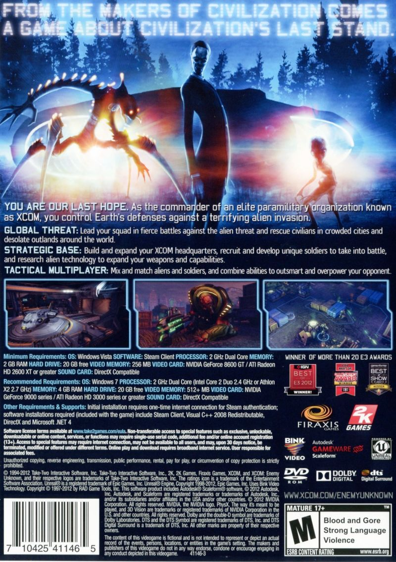 XCOM: Enemy Unknown (Special Edition) Windows Other Keep Case - Back
