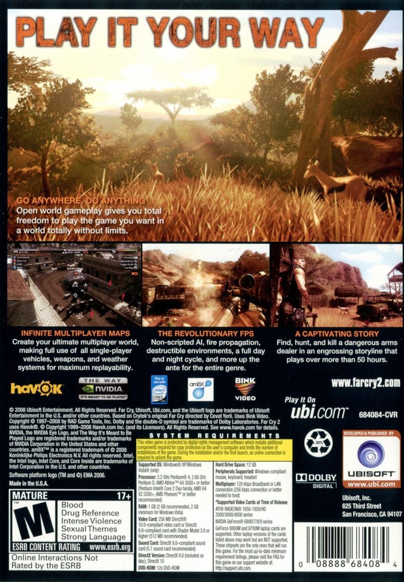Far Cry 2 Windows Other Keep Case - Back