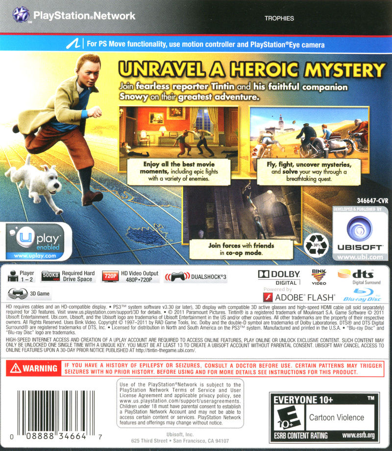 the adventures of tintin the game 2011 playstation 3 box cover art mobygames