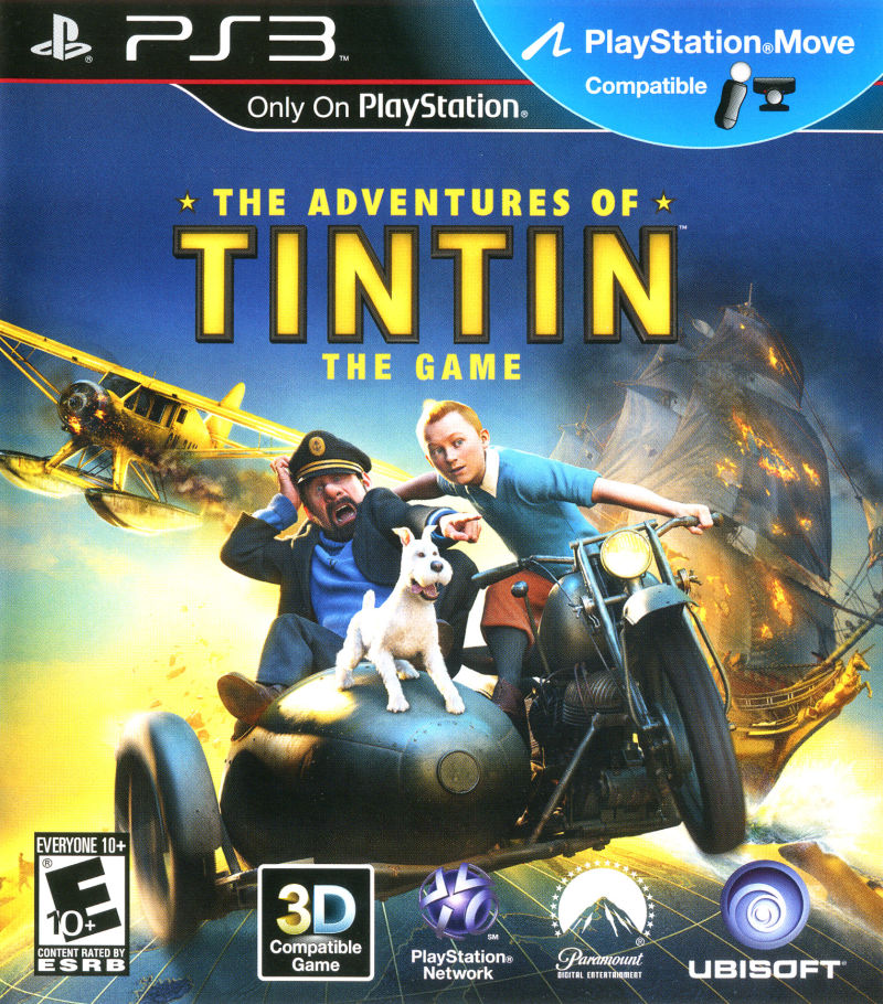 the adventures of tintin the game 2011 playstation 3 box cover