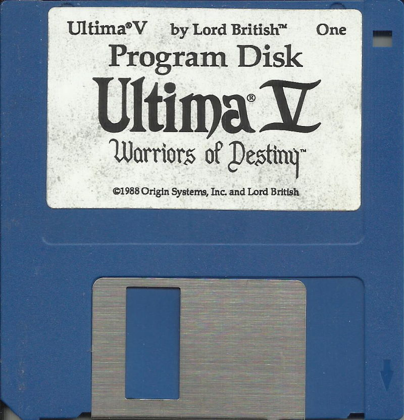 "Ultima V: Warriors of Destiny DOS Media 3.5"" disk 1/2: Program disk"
