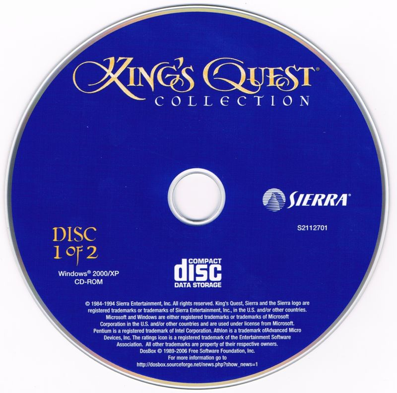 King's Quest Collection Windows Media Disc 1/2