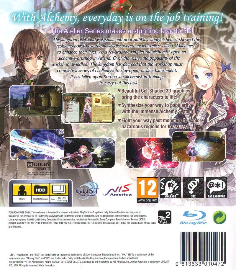 Atelier Rorona: The Alchemist of Arland PlayStation 3 Back Cover