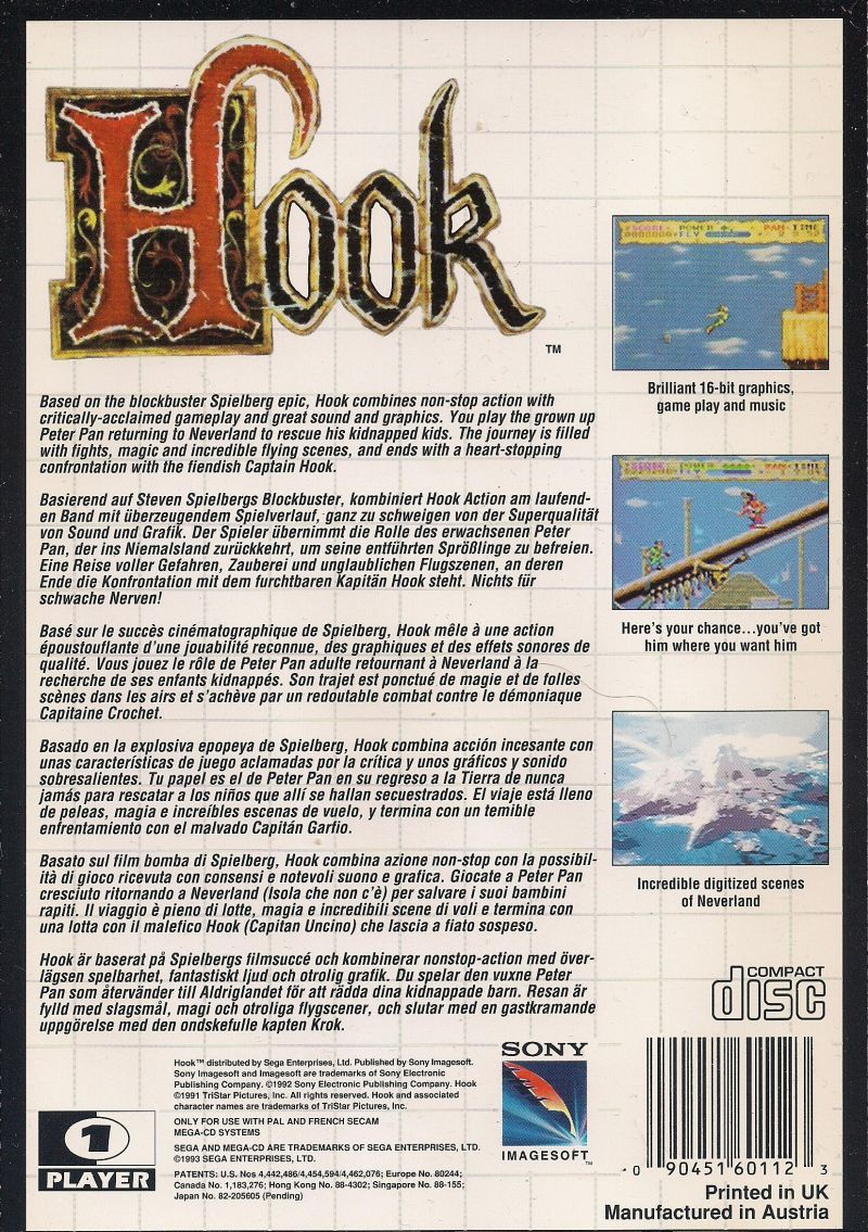 Hook SEGA CD Back Cover