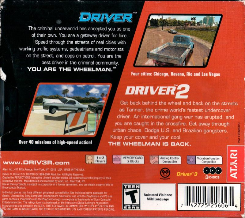Driver / Driver 2 PlayStation Back Cover
