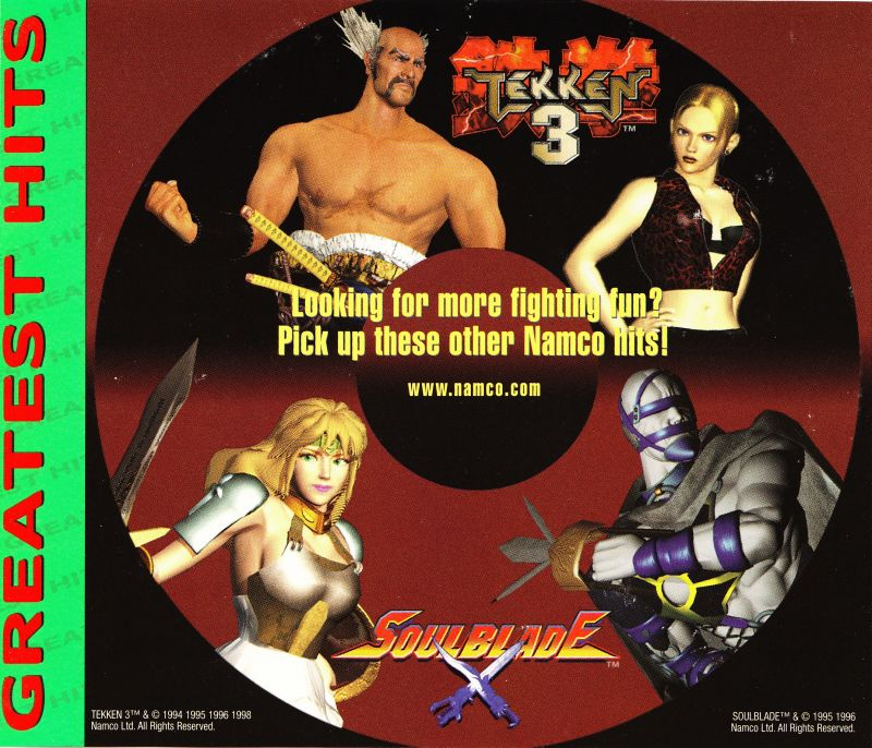 Tekken 2 PlayStation Inside Cover Greatest Hits