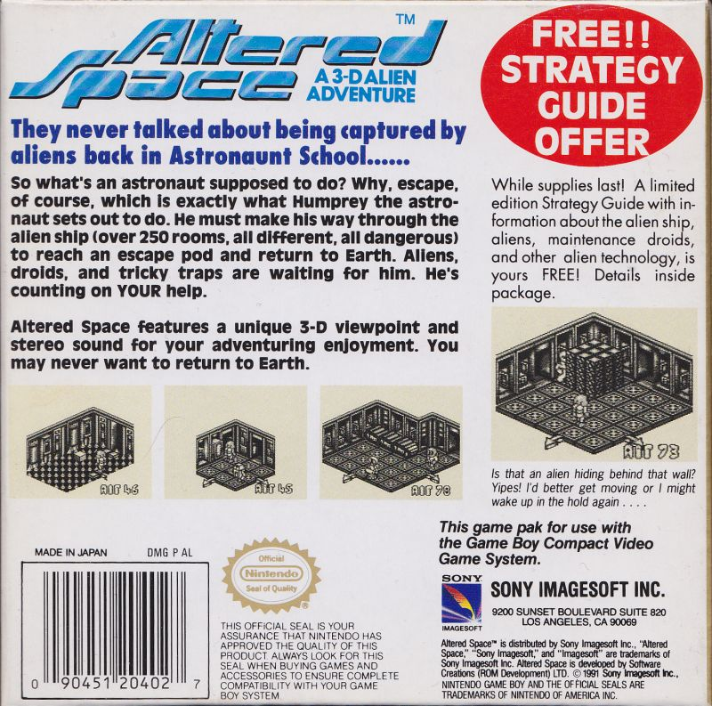 Altered Space: A 3-D Alien Adventure Game Boy Back Cover
