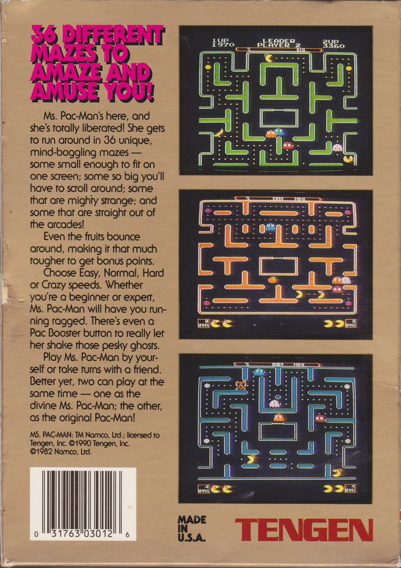 Ms. Pac-Man NES Back Cover