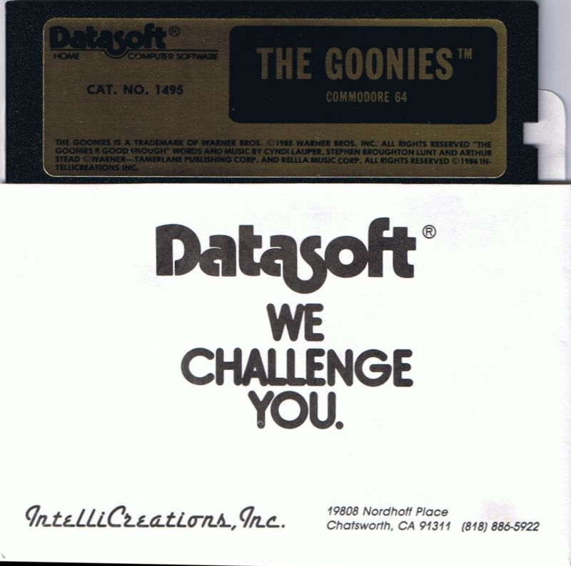 The Goonies Atari 8-bit Media Commodore 64 disk