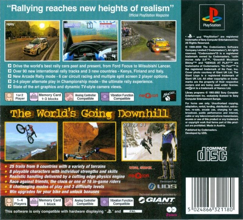 Colin McRae Rally 2.0 / No Fear Downhill Mountain Biking PlayStation Back Cover