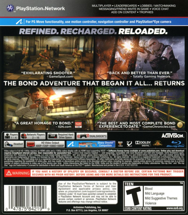 New 007 Game For Ps3 : Goldeneye reloaded playstation box cover art