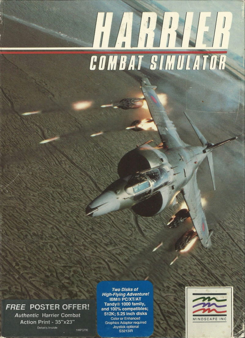 Harrier Combat Simulator PC Booter Front Cover