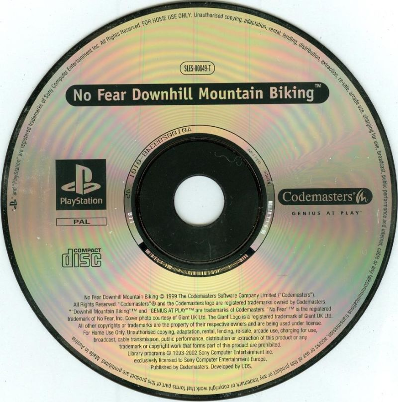 Colin McRae Rally 2.0 / No Fear Downhill Mountain Biking PlayStation Media <i>No Fear Downhill Mountain Biking</i> disc