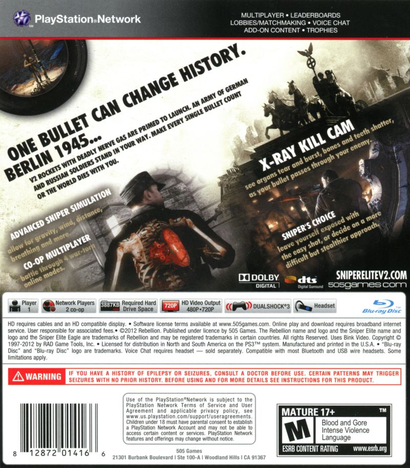 Sniper Elite V2 PlayStation 3 Back Cover