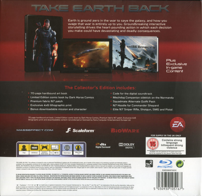 Mass Effect 3 (N7 Collector's Edition) PlayStation 3 Back Cover