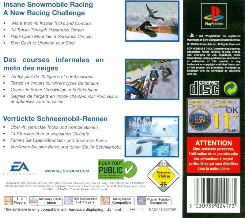 Sled Storm PlayStation Back Cover