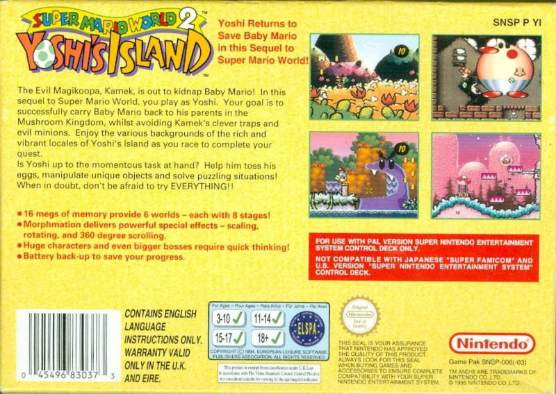 Super Mario World 2: Yoshi's Island SNES Back Cover