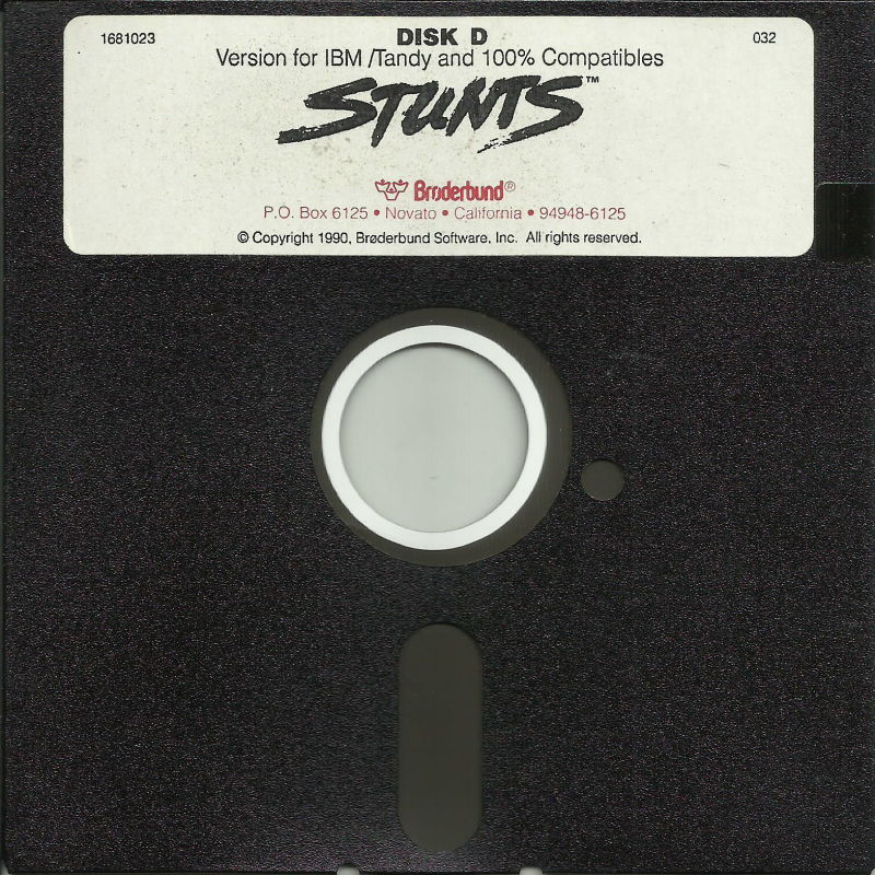 "Stunts DOS Media 5.25"" Disk D (Alternate Label)"