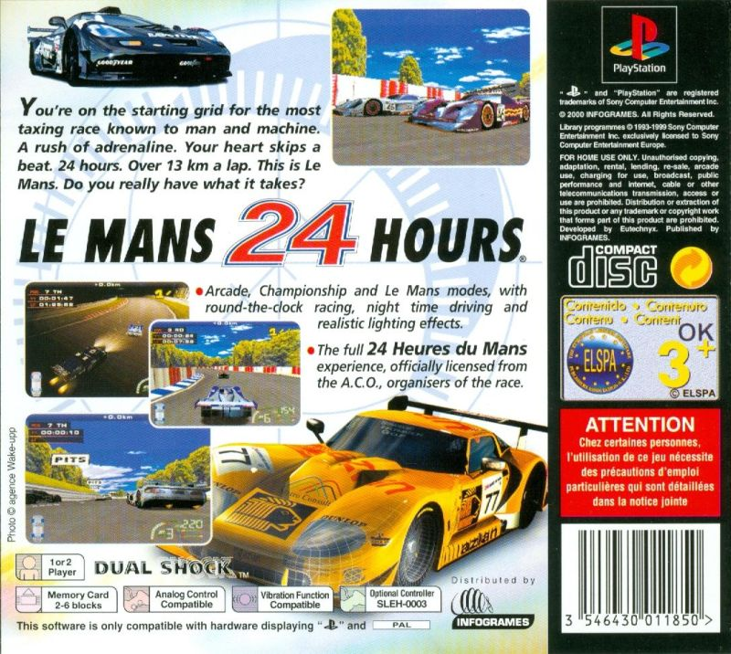 Test Drive: Le Mans PlayStation Back Cover
