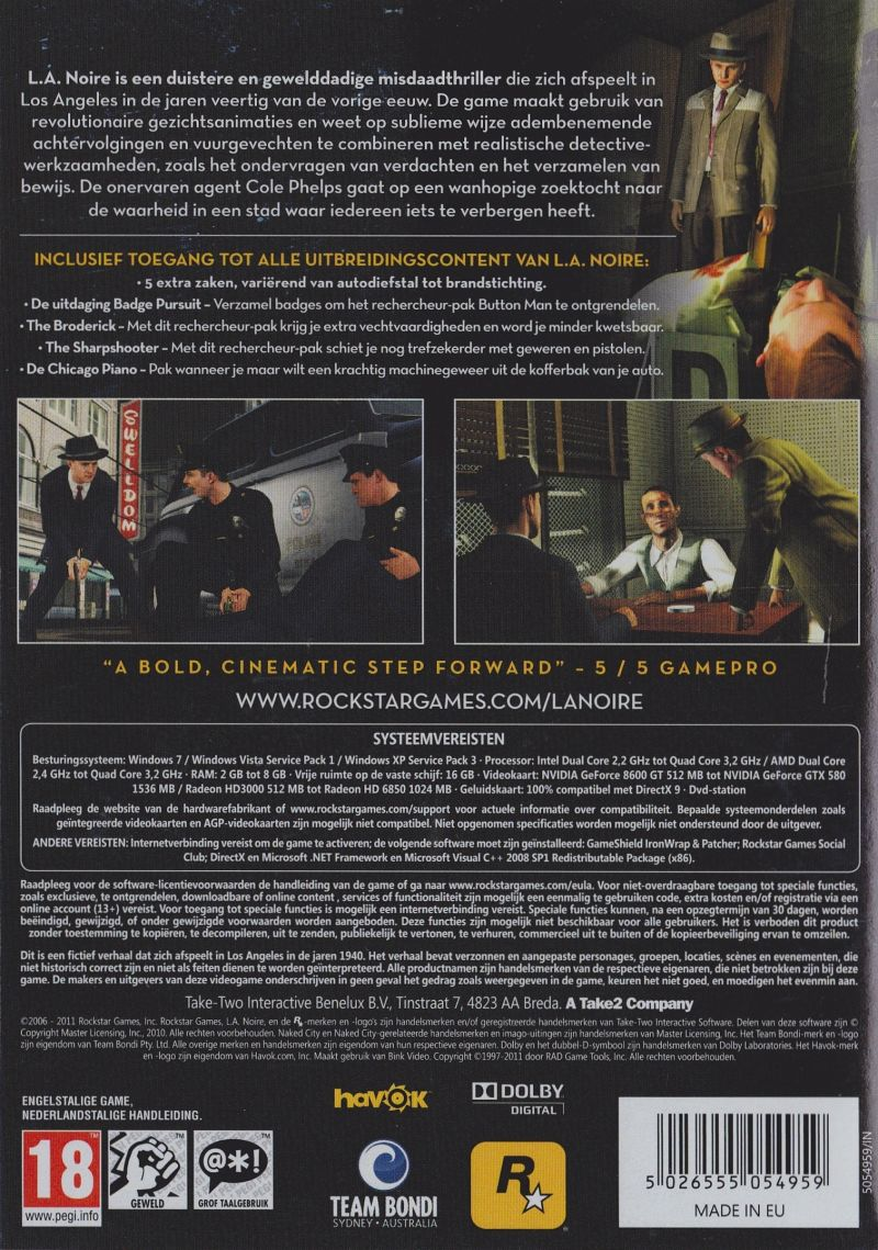 L.A. Noire: The Complete Edition Windows Back Cover