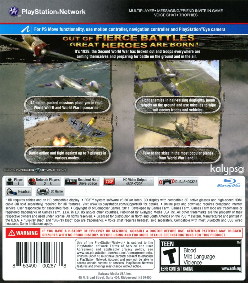 Air Conflicts: Secret Wars PlayStation 3 Back Cover