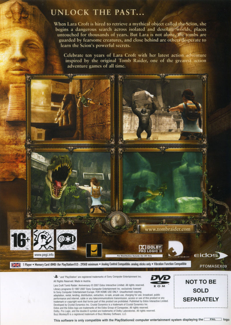 Lara Croft: Tomb Raider - Anniversary PlayStation 2 Back Cover