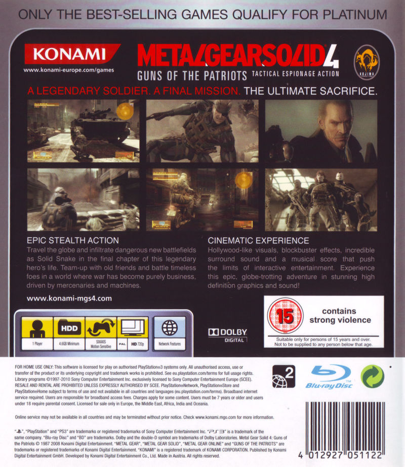 Metal Gear Solid 4: Guns of the Patriots (2008) PlayStation 3 box
