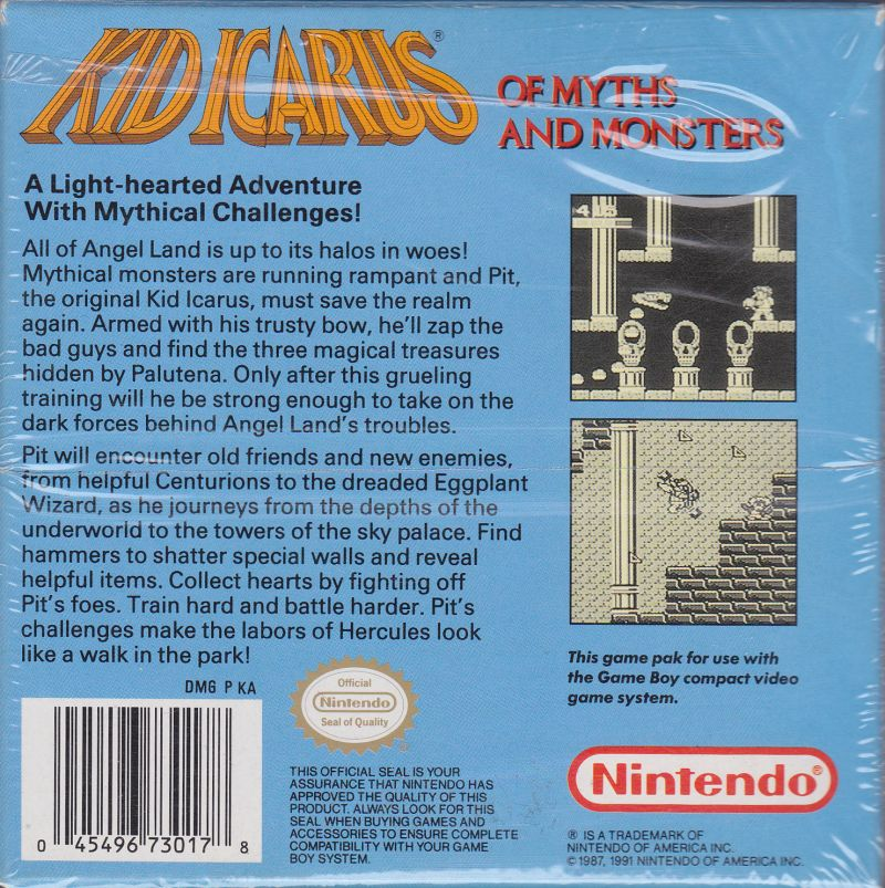 Kid Icarus Of Myths And Monsters Game Boy Back Cover