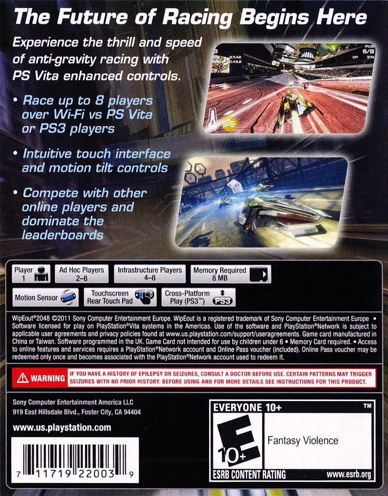 WipEout 2048 PS Vita Back Cover