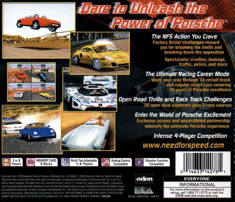 Need for Speed: Porsche Unleashed PlayStation Back Cover