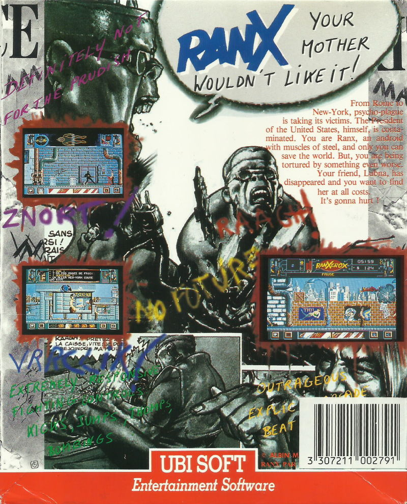 Ranx: The Video Game DOS Back Cover