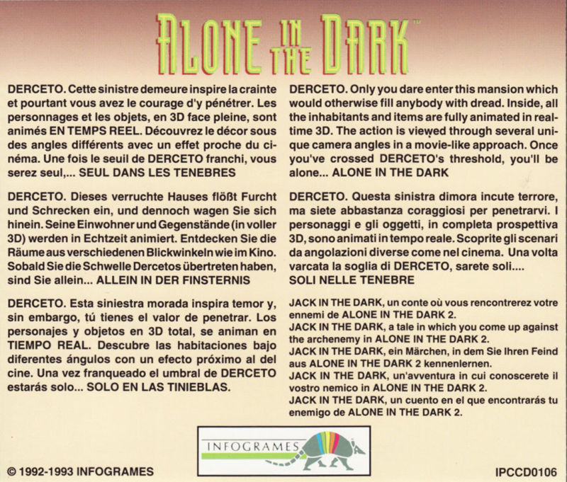 Alone in the Dark 3 DOS Other Jewel Case - Aitd1 Back