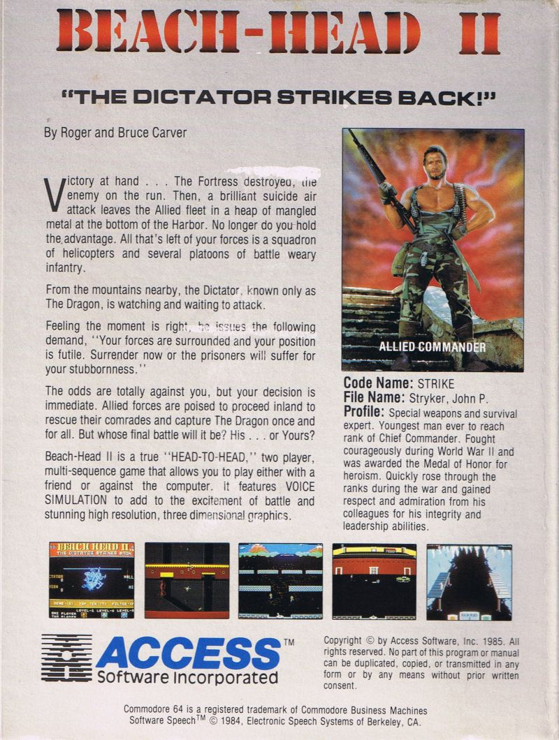 Beach-Head II: The Dictator Strikes Back Commodore 64 Back Cover