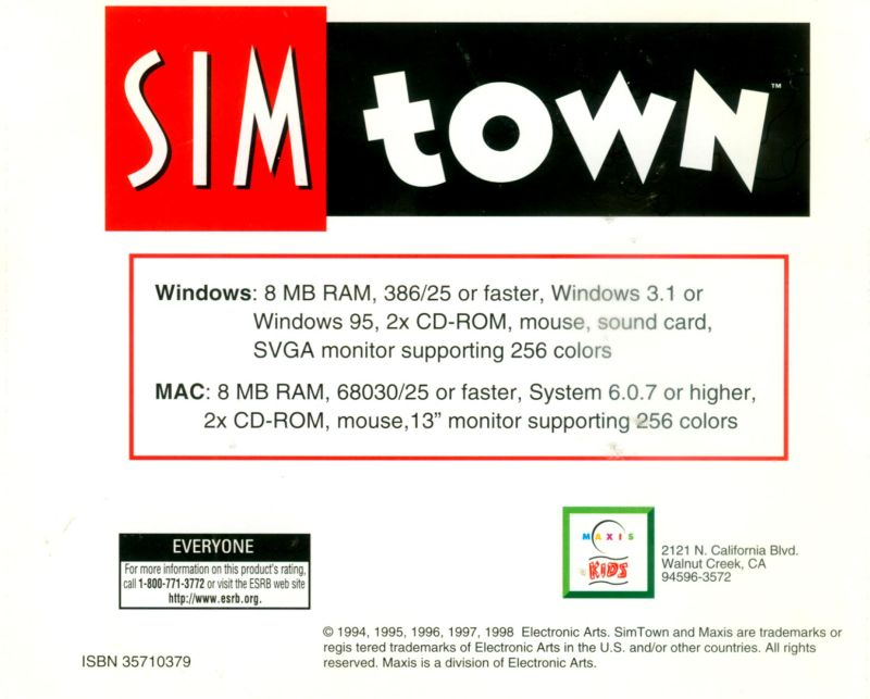 SimTown Macintosh Back Cover