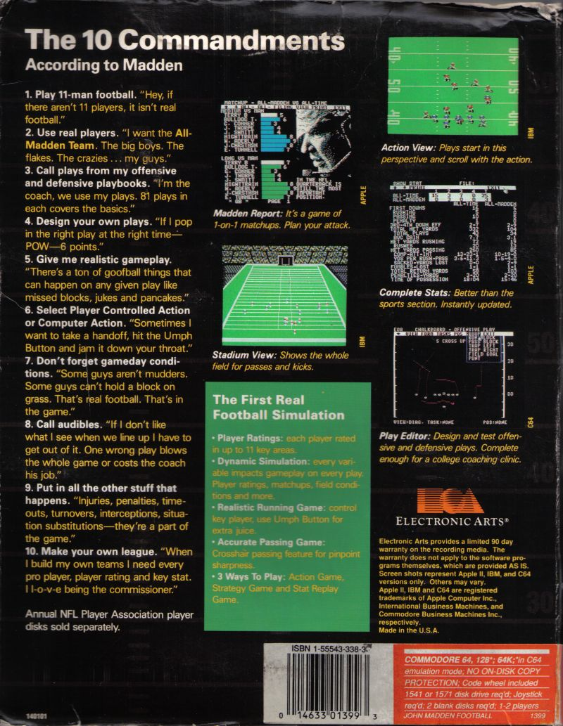 John Madden Football Commodore 64 Back Cover