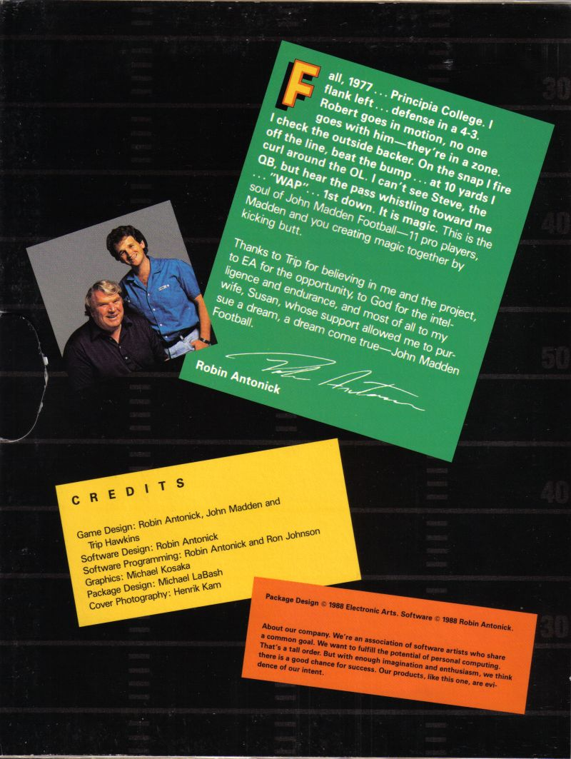 John Madden Football Commodore 64 Inside Cover