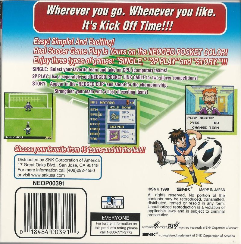 Neo Geo Cup '98 Plus Color Neo Geo Pocket Color Back Cover