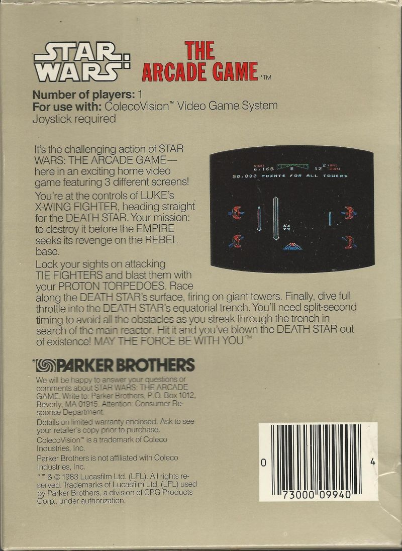 Star Wars ColecoVision Back Cover