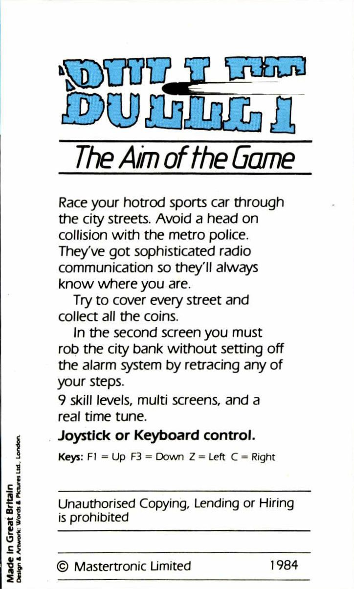 Bullet VIC-20 Back Cover