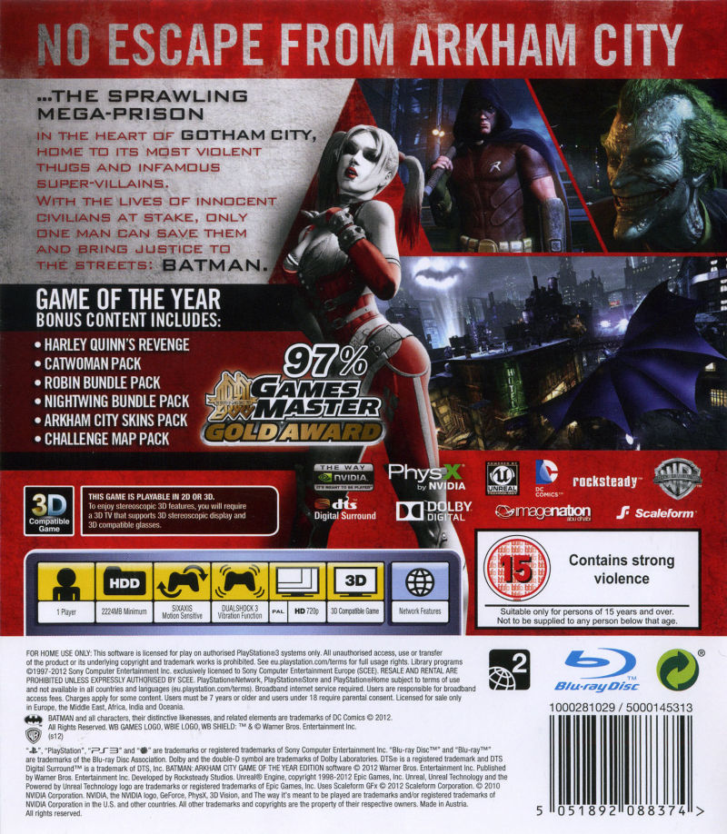 Batman: Arkham City - Game of the Year Edition PlayStation 3 Back Cover