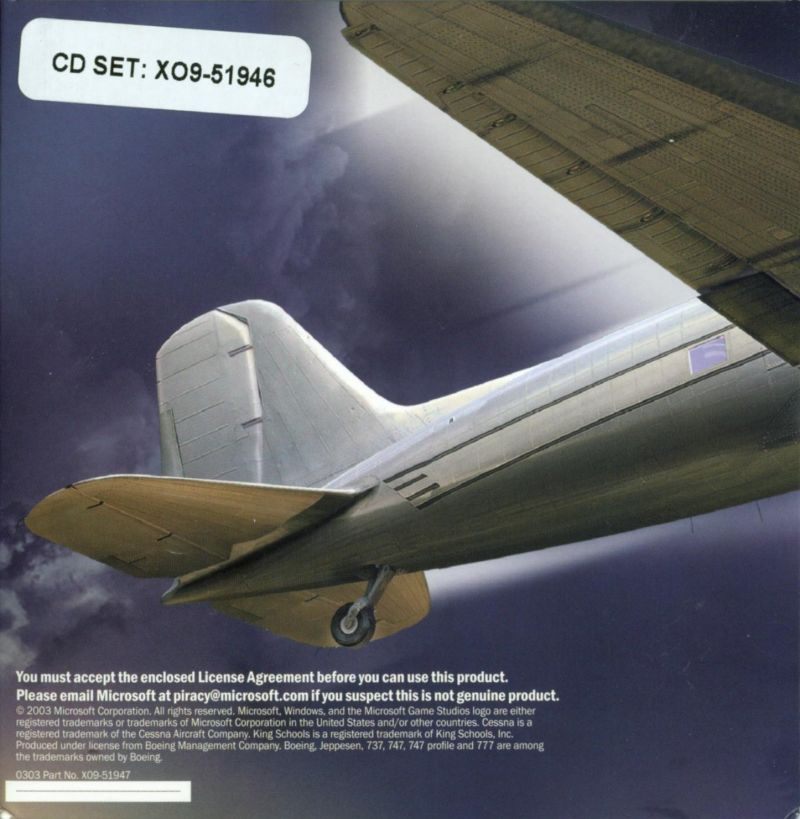 Microsoft Flight Simulator 2004: A Century of Flight Windows Other Disc Holder - Back