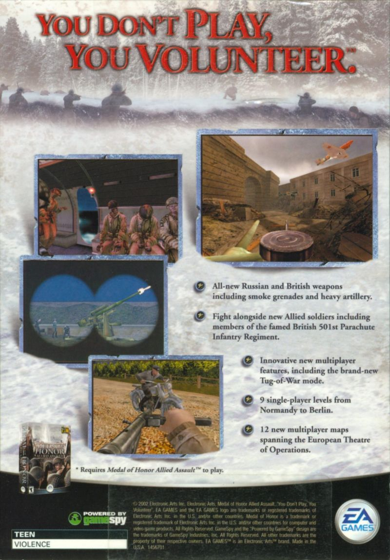Medal of Honor: Allied Assault - Spearhead Windows Back Cover