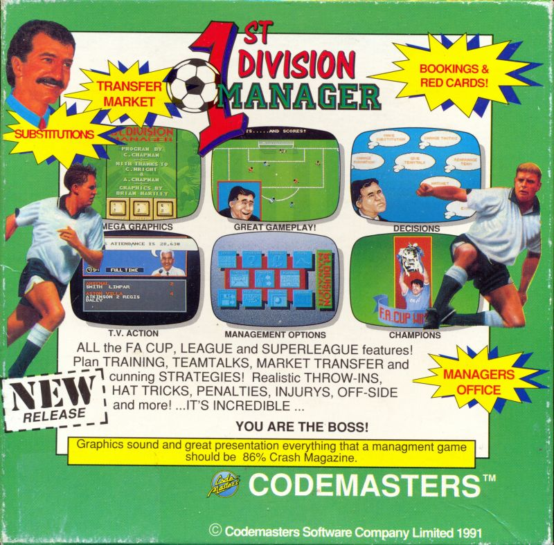 1st Division Manager Amiga Back Cover
