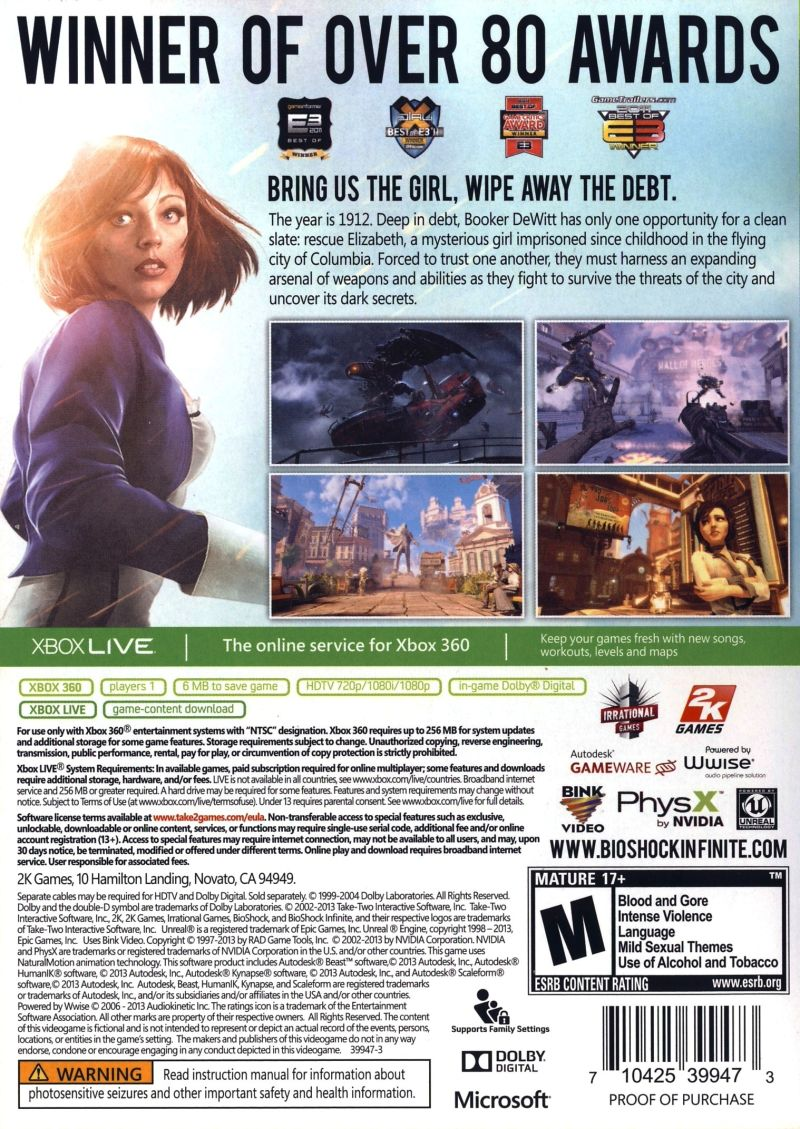 BioShock Infinite Xbox 360 Back Cover