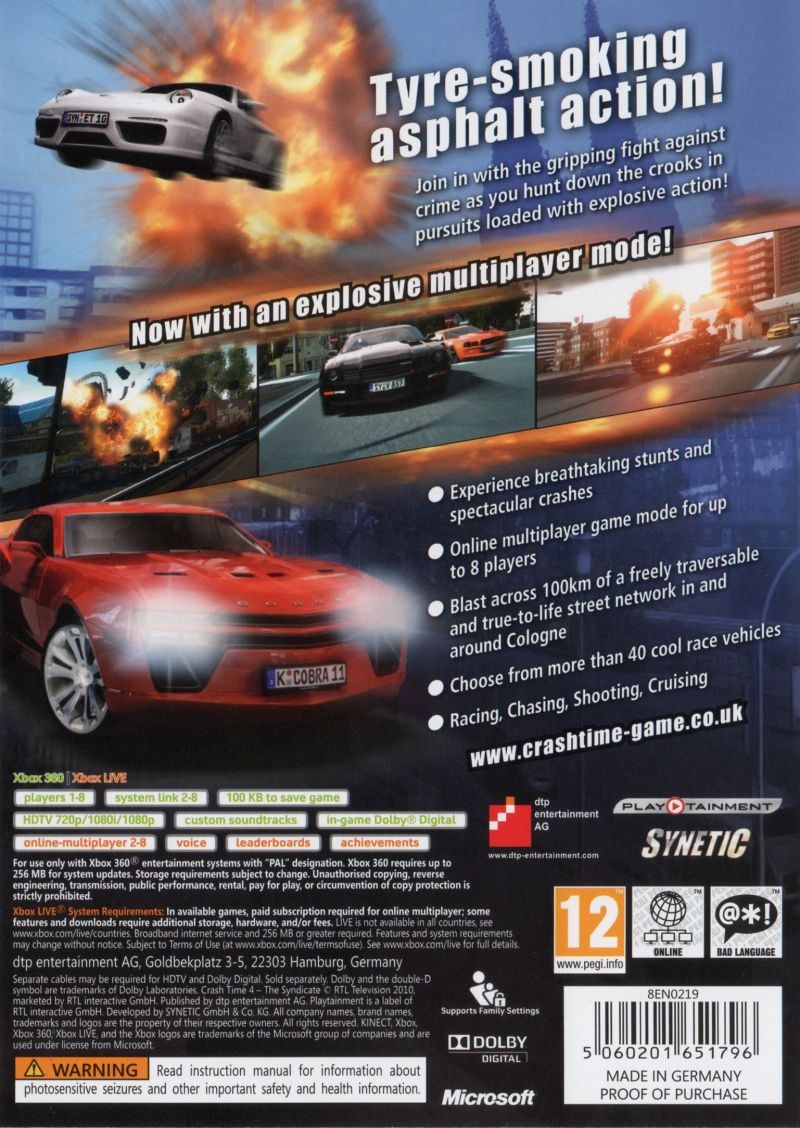Crash Time 4: The Syndicate Xbox 360 Back Cover