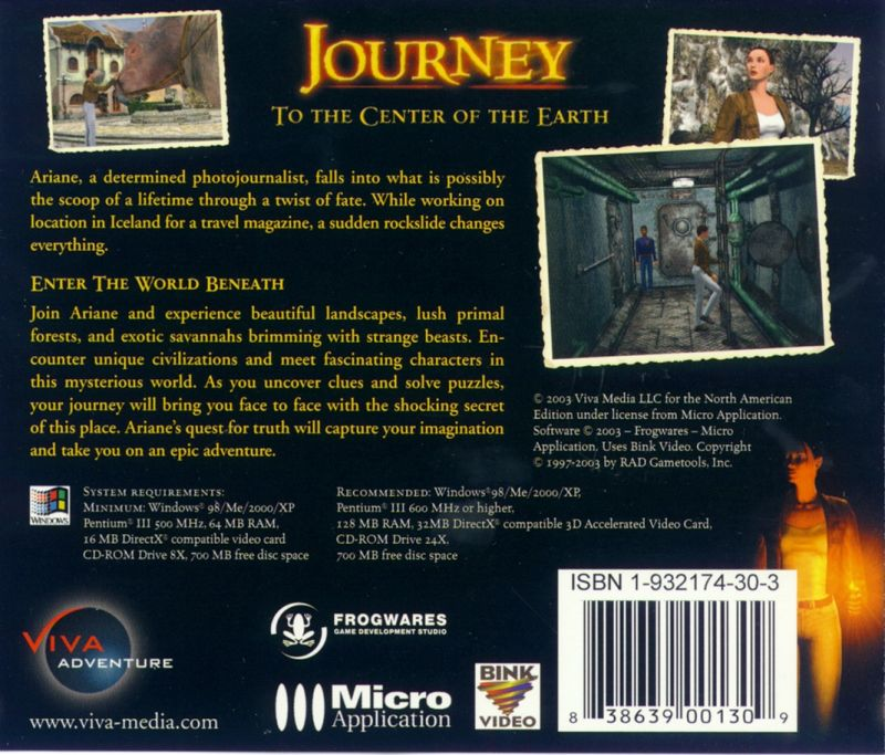 Journey to the Center of the Earth Windows Other Jewel Case - Back