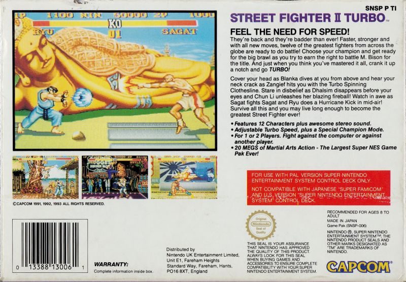 street fighter 2 turbo snes cover art