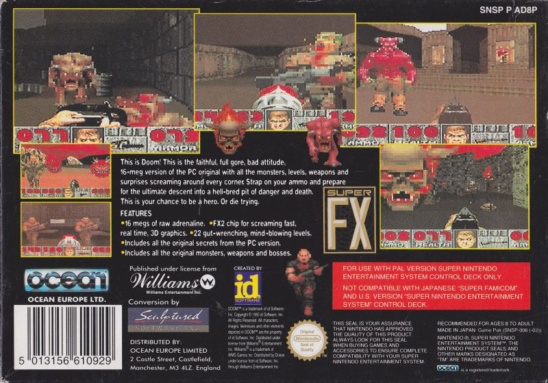 DOOM SNES Back Cover